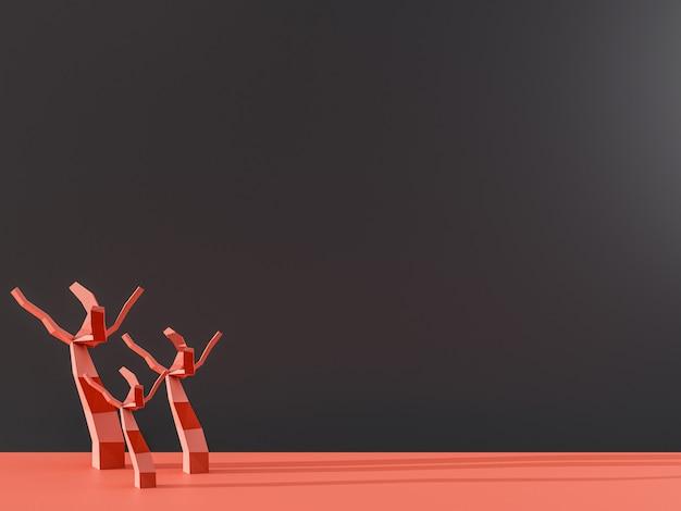 3d rendern von trockenen baumskeletten in der roten düne. afrika namibia reisen. ökologie globale erwärmung