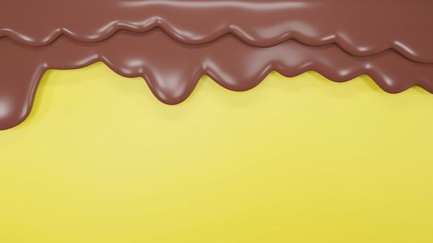 3d rendern von tropfen dunkler schokolade auf gelber wand