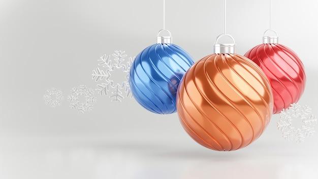 3d rendern von weihnachtsball mit schneeflocken. Premium Fotos