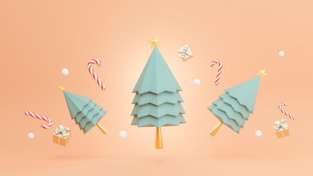 3d rendern von weihnachtsbaum mit dekoration