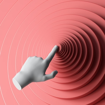 3d rendern weiße mannequin hand, die roten runden knopf drückt.
