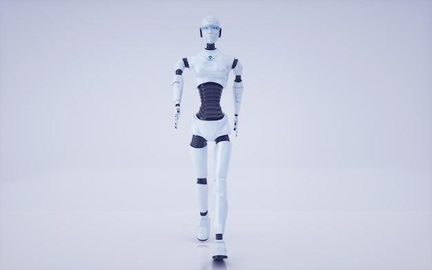 3d rendern zukünftigen roboter und cyborg für künstliche intelligenz