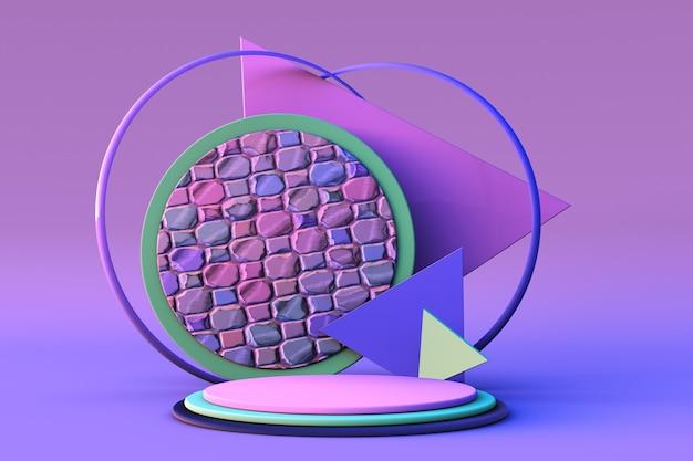 3d-renderpodium mit abstrakten geometrischen formen pastellblau-rosa hintergrundsockelausstellung