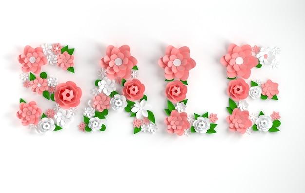 3d-rendertext textverkauf aus papierblumen und -blättern