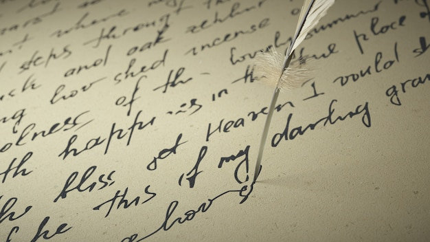 3d-rendertintenstift schreibt gedichte auf altes papier