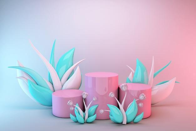 3d rosa abstrakter geometrischer sockel. minimales design des hellen pastellpodiums mit grünen und weißen blumen.
