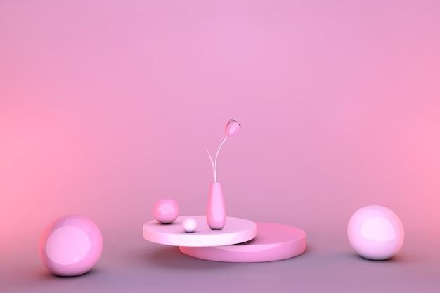 3d rosa abstrakter geometrischer sockel. minimales design des hellen pastellpodiums mit tulpenblüten.