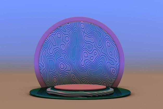 3d-rosa-blau-rendering mit leerem podium und minimalem abstrakten geometrischen pastellkreativmuster