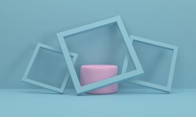 3d-rosa-kreis-podium es ist in einem bilderrahmen 3 stück, die sich gegen den hintergrund lehnen