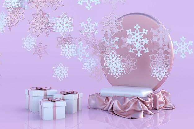 3d rosa pastellpodest geschenkbox schneeflocke winter ornament konzept weihnachten und neujahr