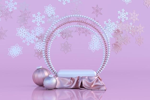 3d rosa pastellpodest mit perlenrahmen weihnachtskugeln roségoldene schneeflocke winterschmuck