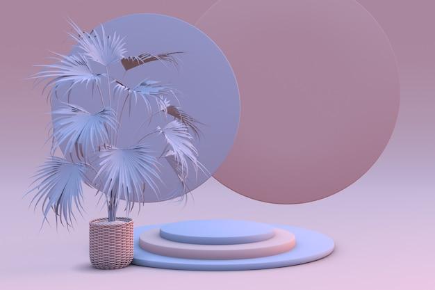 3d rosa pastellrosa und blaue podeste und tropische pflanze auf hellrosa hintergrund