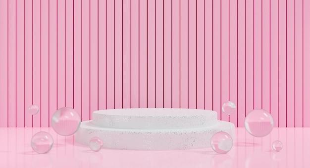 3d rosa podium auf pastellfarbenem hintergrund mit blasenwasser. abstrakte leere bühne. 3d-rendering für sockel, mockup und display-produkt. kreative idee minimale szene. innenarchitektur. Premium Fotos