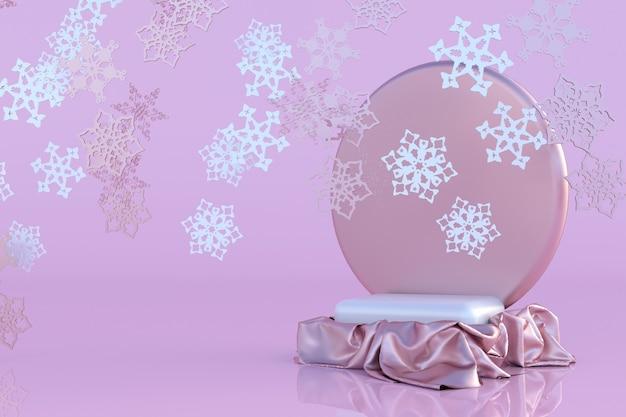3d rosa podium schneeflocke winter ornament konzept weihnachten und neujahr abstraktes festliches mock-up