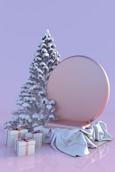 3d rosa podium weihnachtsbaum und geschenkboxen festliche wintervorlage für design frohes neues jahr