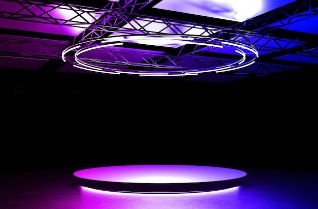 3d-rosa-violett-blau-bühnenpodium mit lichter runder sockel leuchtende leere plattform auf dem boden
