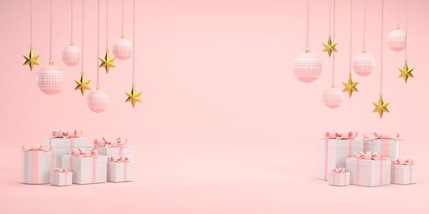 3d. rosa weihnachtskugel und goldene sterne beim weihnachtsfest auf weißem hintergrund.