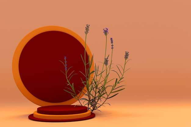 3d rot orange studio rundes podium abstrakte lavendelpflanze auf pastellfarbenem hintergrund kosmetische förderung