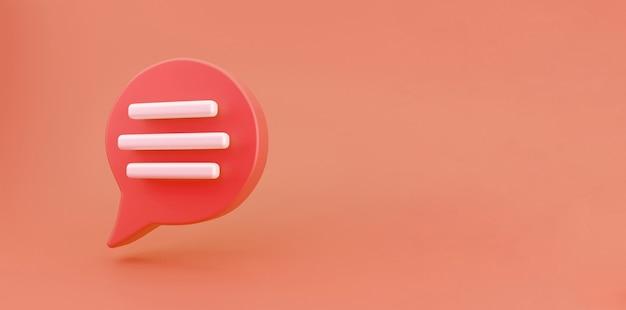 3d-rote sprechblase-chat-symbol auf orangem hintergrund isoliert. kreatives konzept der nachricht mit kopienraum für text. kommunikations- oder kommentar-chat-symbol. minimalismus-konzept. 3d-darstellung rendern