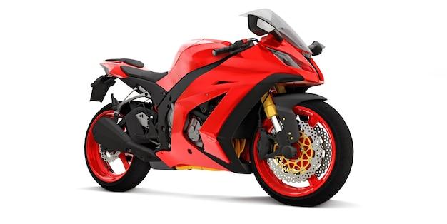3d rotes supersportmotorrad auf weißer isolierter oberfläche