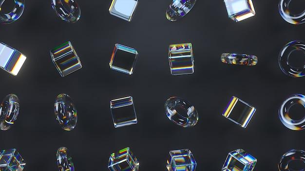 3d rotierende glaswürfel und torus mit dispersionseffekt