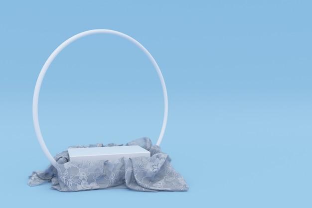 3d rundes podium bedeckt mit weißem tüllmaterial auf blauem hintergrund isoliert leeres podest