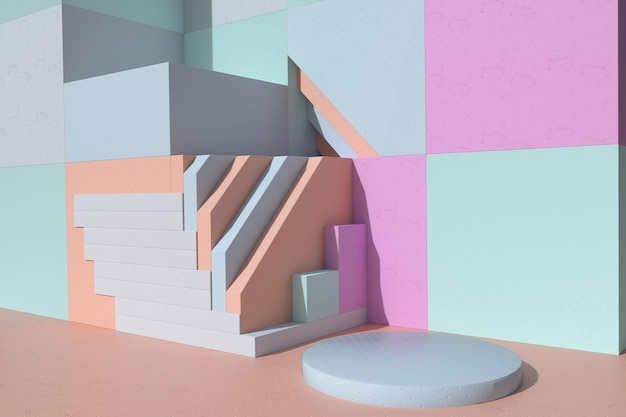 3d rundes podium, sockel auf pastellfarbenem hintergrund. minimale formen. szene mit geometrischen formen