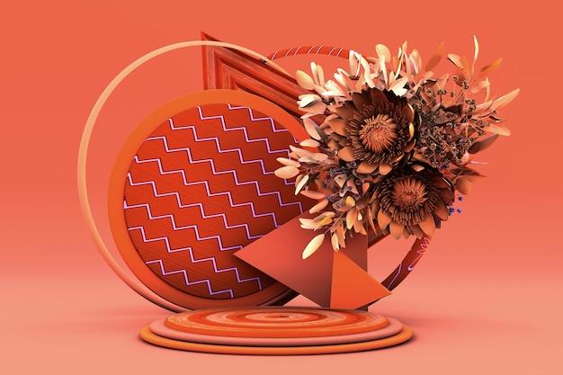 3d-rundpodium mit goldenen und orangefarbenen blumenstraußblumen im herbsthintergrundkonzept-bühnenschaufenster