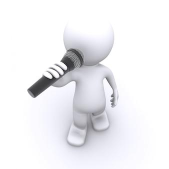 3d-sänger mit mikrofon