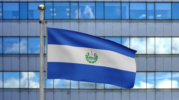 3d, salvadorianische fahnenschwingen im wind mit moderner wolkenkratzerstadt. nahaufnahme von salvador banner weht, weiche und glatte seide. stoff textur fähnrich hintergrund.