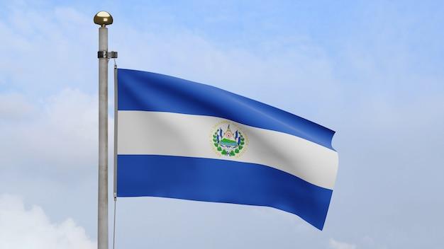 3d, salvadorianische flagge weht im wind mit blauem himmel und wolken. salvador banner weht glatte seide. stoff textur fähnrich hintergrund. verwenden sie es für das konzept für nationalfeiertage und länderanlässe.