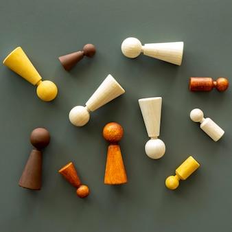 3d-schachfiguren auf dem schreibtisch