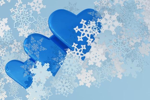 3d-schneeflocken blaue eisige herzen winter st. valentine hintergrund frohe weihnachten und ein glückliches neues jahr