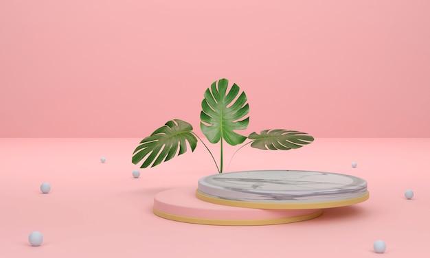 3d schöner podestmarmor in overlay gelegt und blätter auf rosa hintergrund für die produktpräsentation