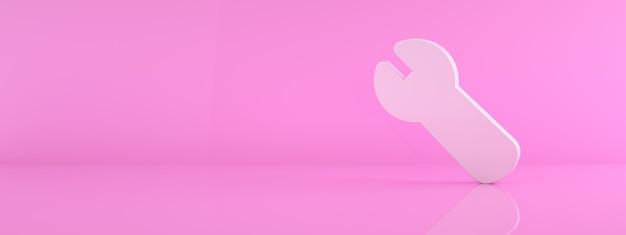 3d-schraubenschlüsselsymbol über rosa hintergrund, 3d-rendering, panorama-modellbild