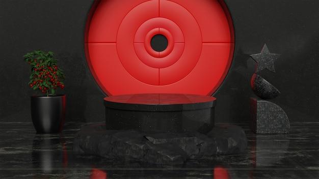 3d schwarz-rotes abstraktes konzept produktstanddesign