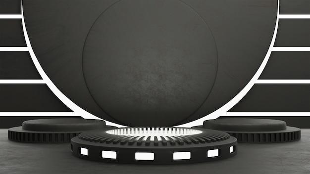3d schwarz-weiß abstraktes konzept drei produktstanddesign three