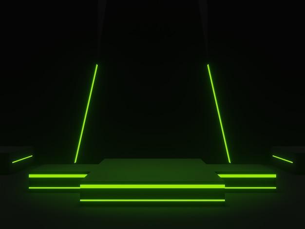 3d schwarze wissenschaftliche bühne mit grünen neonlichtern