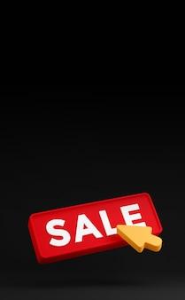 3d schwarzer freitag-verkaufsknopf mit klick-pfeil-cursor. verkauf banner design rabattkonzept. 3d-rendering
