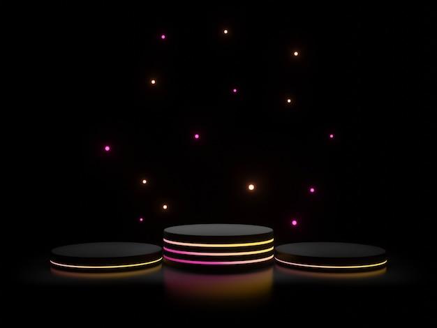 3d schwarzer stand mit farbverlauf neonlichter dunklem hintergrund