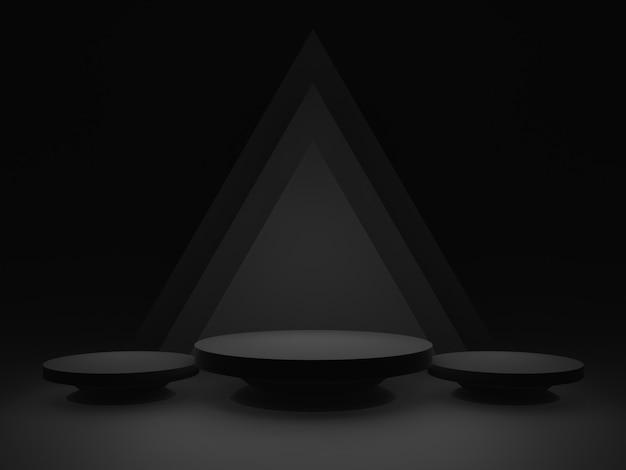 3d schwarzes geometrisches bühnenpodest. dunkler hintergrund.