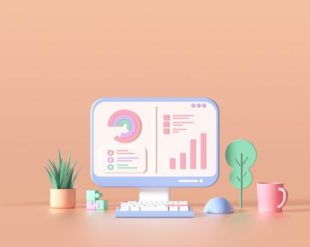3d seo optimierung, webanalyse und seo marketing cncept. 3d-renderillustration