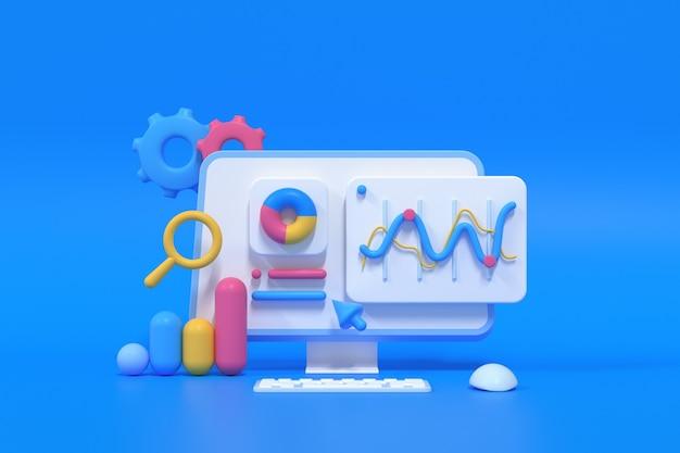 3d-seo-optimierung, webanalyse und seo-marketing-konzept. 3d-render-darstellung
