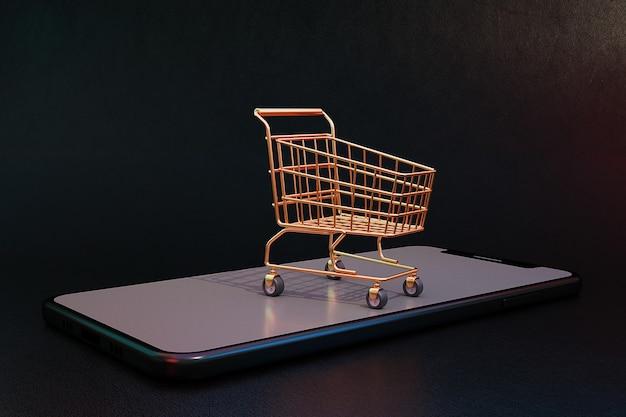 3d-shopping-online-konzept mit warenkorb und handy. 3d-rendering.