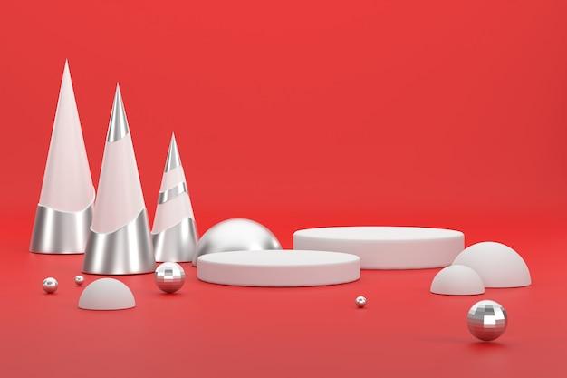 3d. silberner weihnachtsbaum und podest für die präsentation von produkten beim weihnachtsfest.