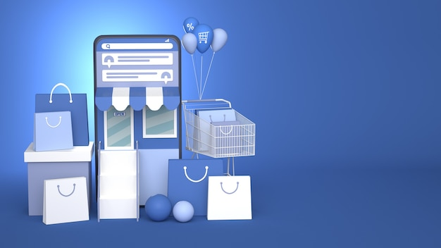 3d-smartphone-illustrationsdesign für online-marketing und shopping mit kopierraum