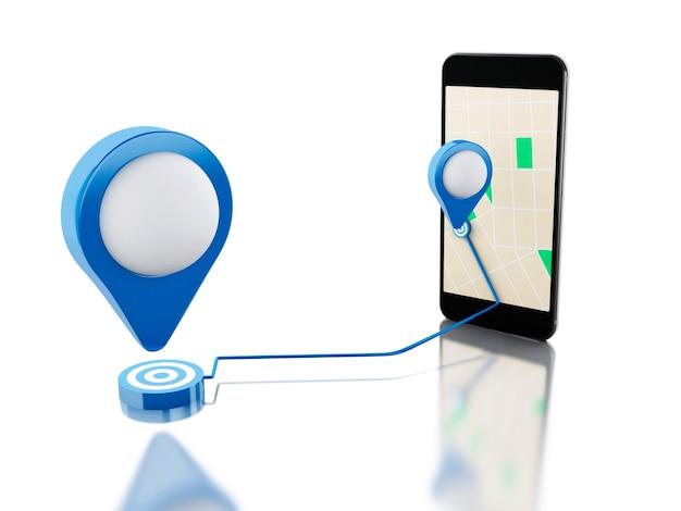 3d smartphone mit einer karte, einem blauen zeiger und einem geplanten weg auf schirm.
