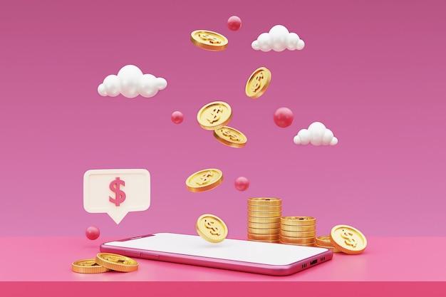 3d-smartphone mit goldmünzen. e-commerce-verkaufskonzept. 3d-rendering.