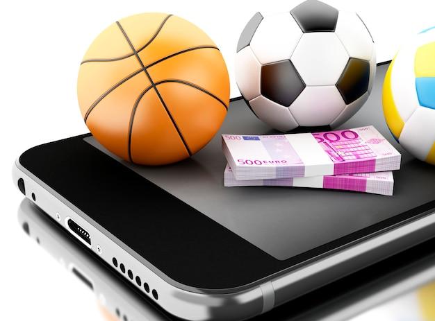 3d smartphone mit sportbällen und -geld.