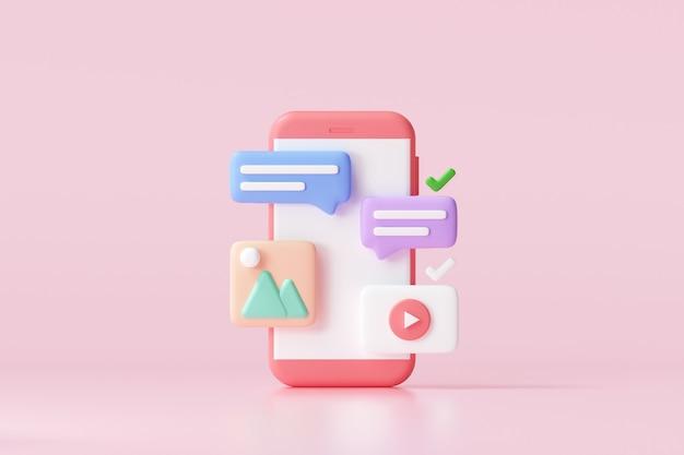 3d-social-media-plattform, online-konzept für soziale kommunikationsanwendungen, emoji, webseite, suchsymbole, chat und diagramm mit smartphone-hintergrund. 3d-darstellung